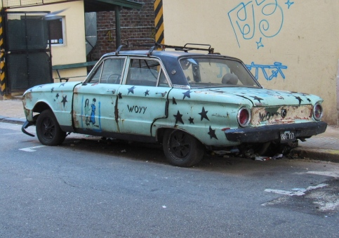 Graffitied car, Buenos Aires