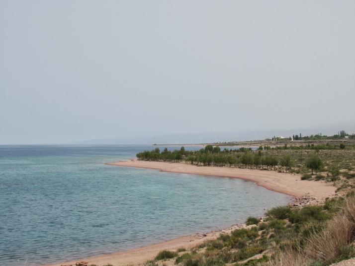 Issyk Kul lake southern shoreline