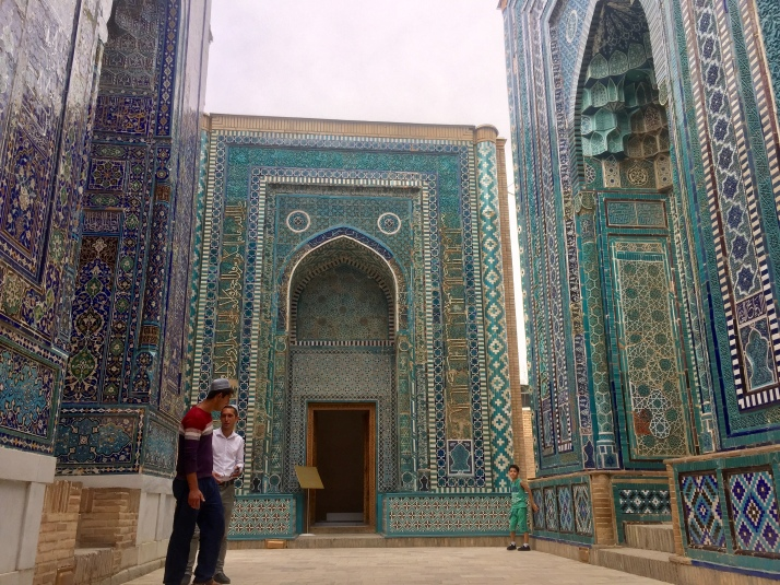 Blue tiled mausoleums in the Shah-i-Zinda necropolis
