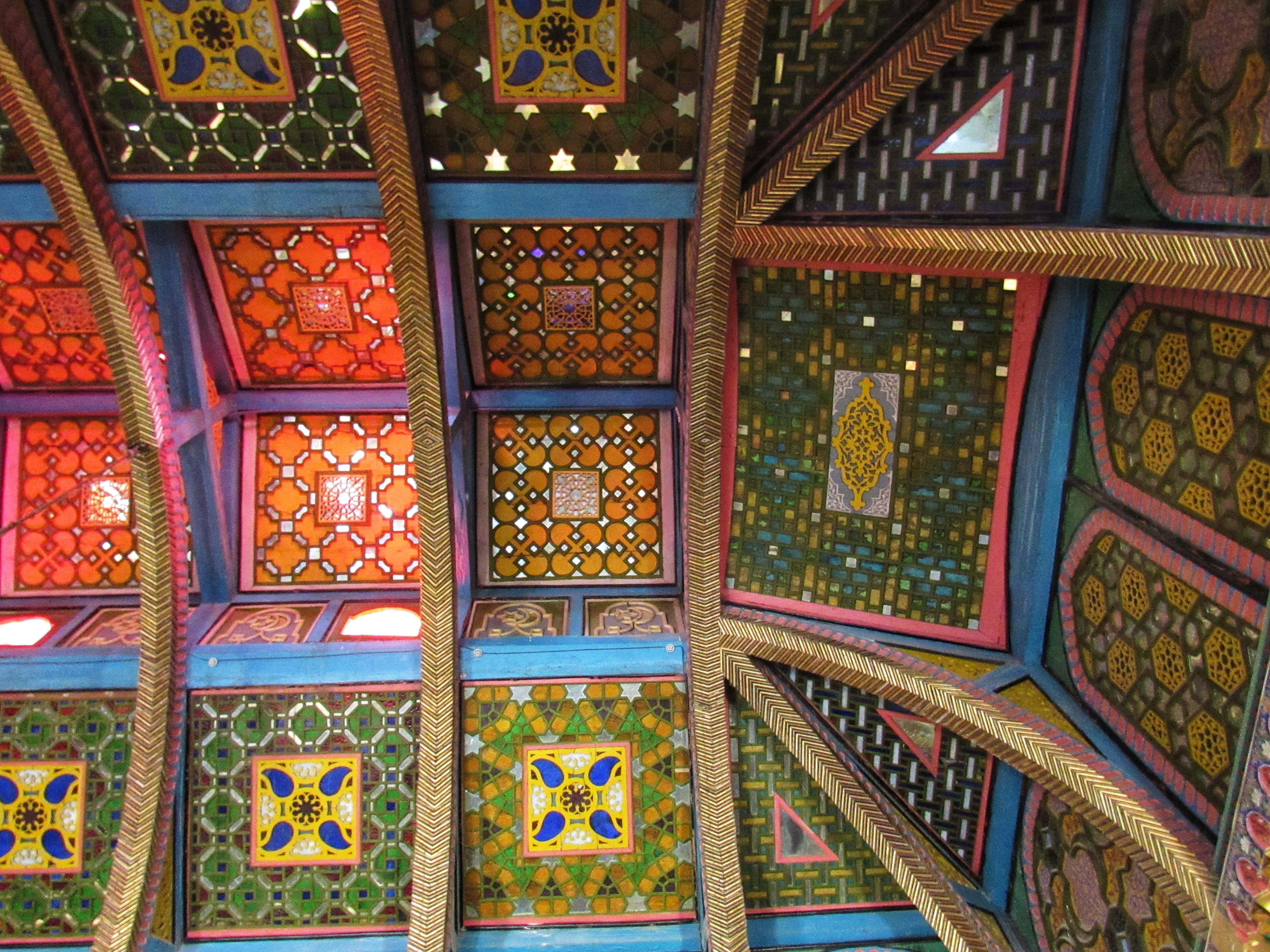 Colourful glass tiled ceiling in the Sitorai Mokhi-Khosa Palace