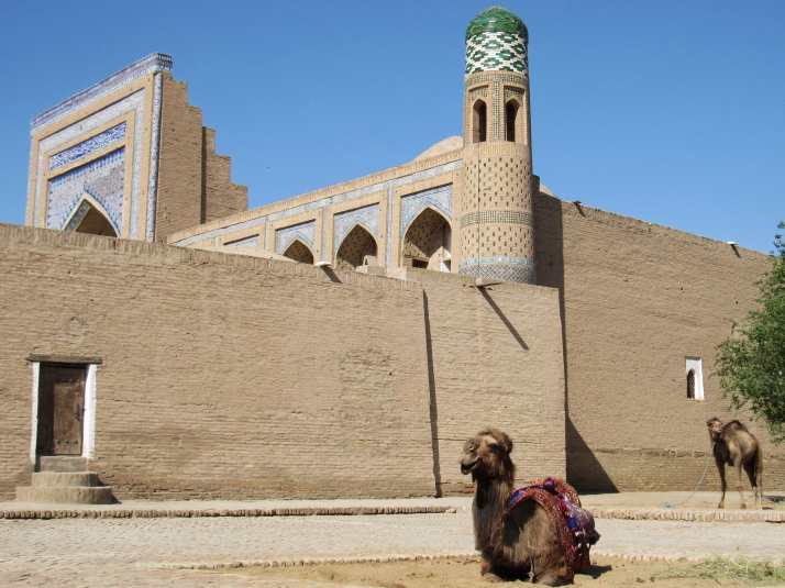 Buildings and camels in Khiva