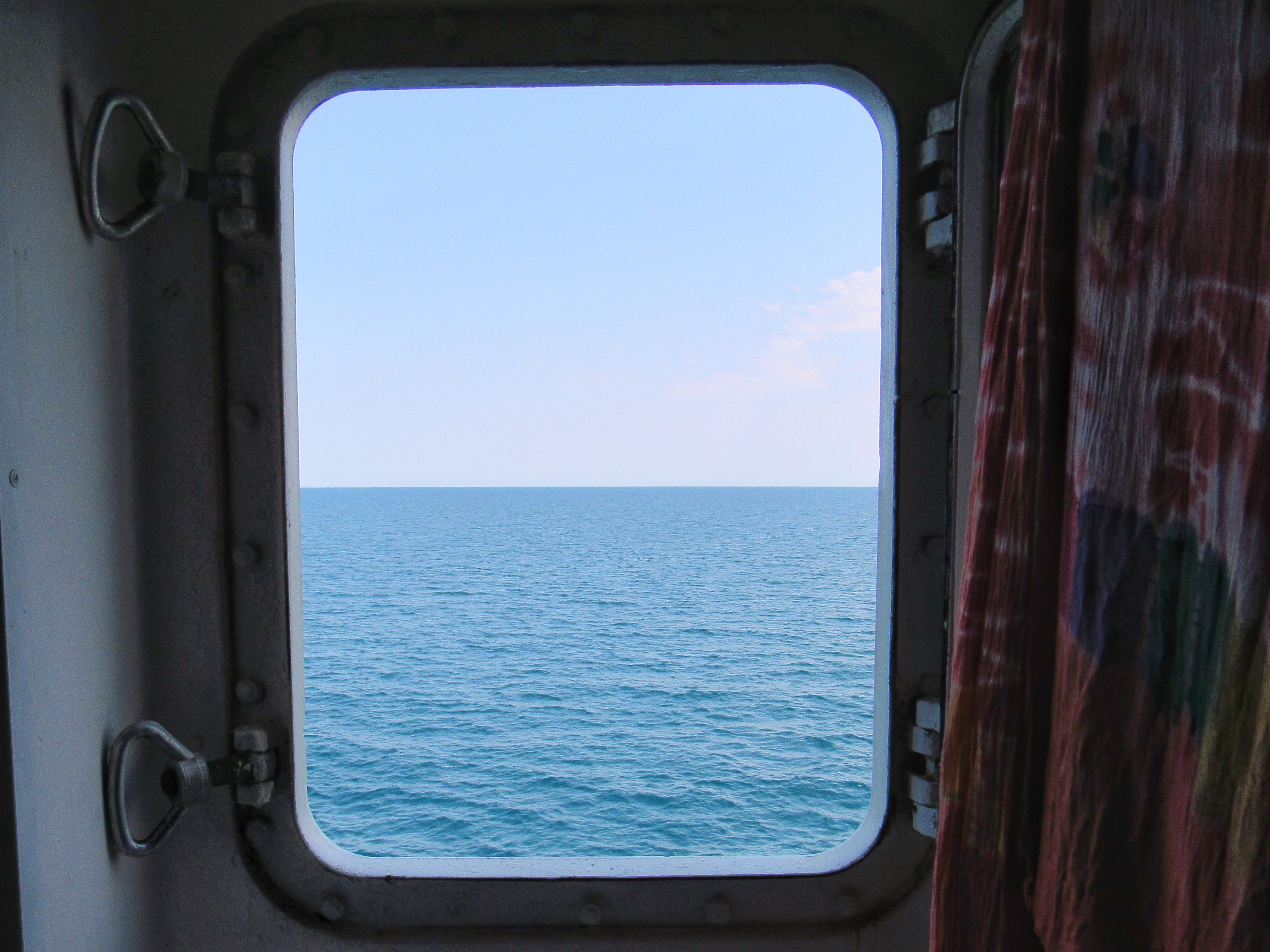 View through the ferry cabin window