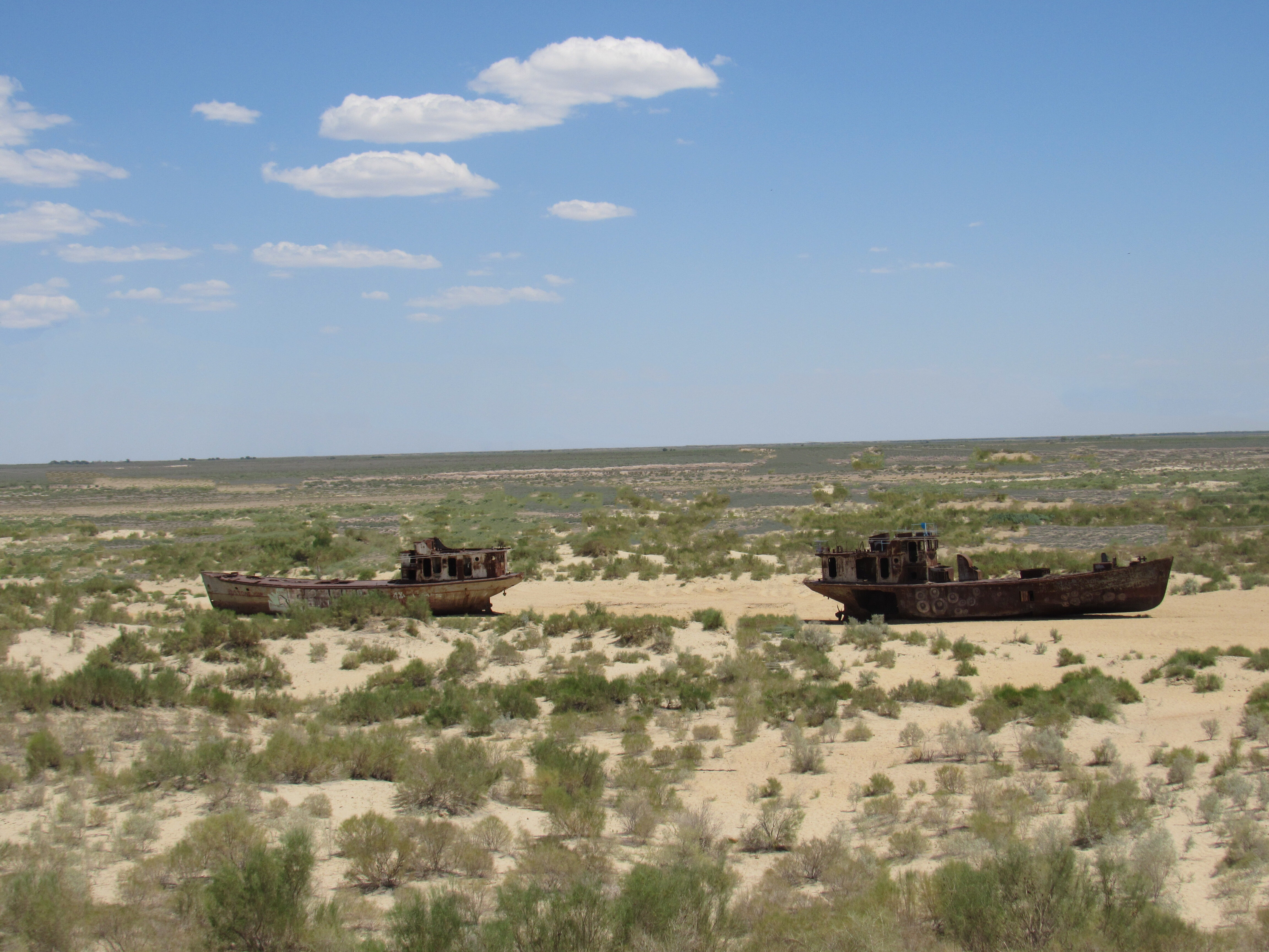 Fishing boats on the Aral Sea