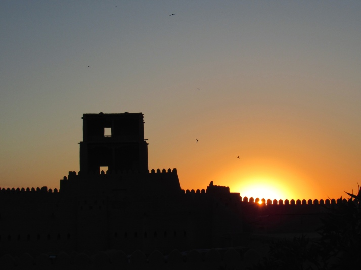 Sun setting over the thousand year old walls of Khiva
