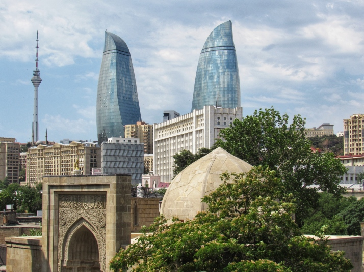 Old and new buildings in Baku