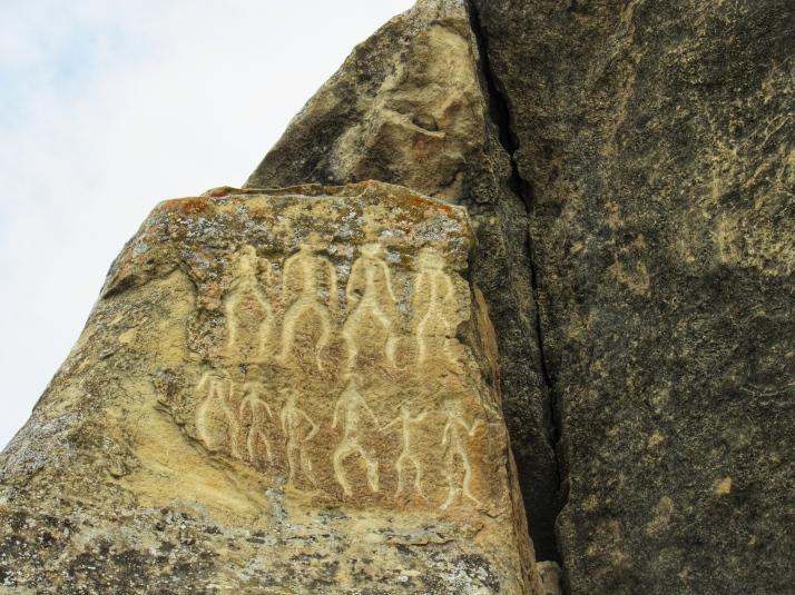 Petroglyphs of dancing people at Gobustan