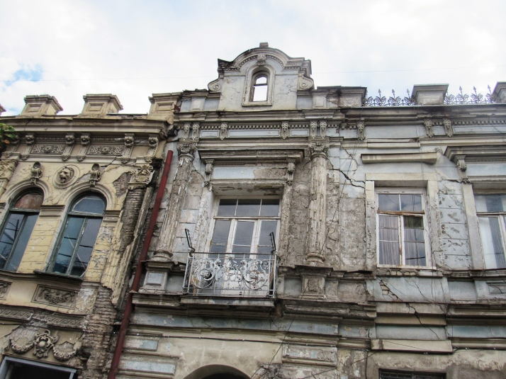 Crumbling old buildings in Tbilisi